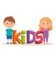 couple little kids with word characters vector image