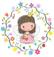 cute princess in a flowers frame vector image vector image