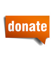 donate orange speech bubble isolated on white vector image vector image