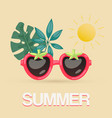 exotic summer sunglasses with tropical leaves vector image vector image