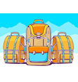 fashion backpacks on blue winter backgrou vector image