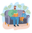 father reading book to his son childs education vector image vector image