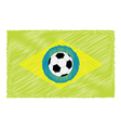 Football soccer ball brazil flag Scribble effect vector image