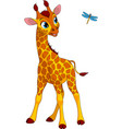funny little giraffe and dragonfly vector image vector image