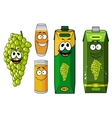 Funny natural green grape fruit and juice cartoon vector image