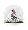 Girl cycling sketch for your design vector image vector image
