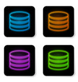 glowing neon database icon isolated on white vector image