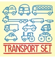 Hand drawn cartoon transport set vector image vector image