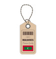 hang tag made in maldives with flag icon isolated vector image