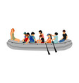 happy children rafting with rubber boat river vector image vector image
