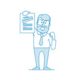 happy man shows a document with inscription vector image vector image