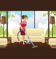 housewife vacuuming carpet vector image