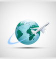 icon plane flies around the earth planet business vector image vector image