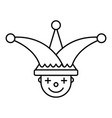 jester face hat icon outline style vector image vector image