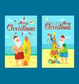 merry christmas santa claus and surfing board xmas vector image vector image