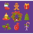 Merry new year and Christmas Items cute faces vector image vector image