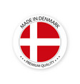 modern made in denmark label danish sticker vector image vector image