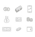 monochrome set with line economy icons vector image