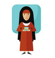 muslim girl student with books vector image