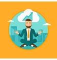 Peaceful businessman doing yoga vector image vector image