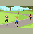 people exercise in park while practicing vector image