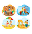 people on vacation airport seaside and old town vector image vector image