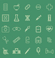 pharmacy line color icons on green background vector image vector image
