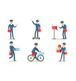 postman or mailman delivering mails and packages vector image