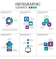 Purple green blue Infographic elements flat design vector image