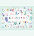 sealife cartoons set cute fish jellyfish star vector image