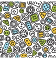 Seamless hand-drawn doodle pattern with buttons vector image vector image