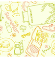 seamless pattern with elements for a beach holiday vector image