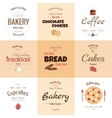 set 9 bakery labels vector image vector image