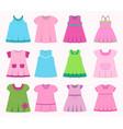 set different childrens dresses for bagirls vector image vector image