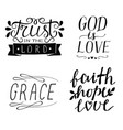 set of 4 hand lettering christian quotes god is vector image vector image