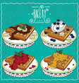 set of belgian waffles in handmade cartoon style vector image