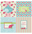 Set of Colorful Cards with Rose Elements vector image vector image