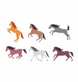 set of colorful horses vector image