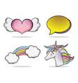 set of pop art cartoon vector image vector image