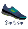 shoes with text step by step vector image vector image