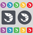 Shrimp seafood icon sign A set of 12 colored vector image