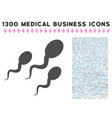 sperm icon with 1300 medical business icons vector image vector image