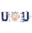 sport letters u collection isolated on white vector image
