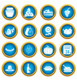 thanksgiving icons blue circle set vector image vector image