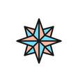 wind rose compass navigation flat color line vector image vector image