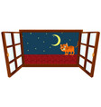 window scene with little cat on roof at night vector image