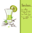 with hand drawn Kamikaze cocktail vector image
