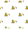 yellow mini excavator pattern flat vector image vector image