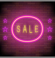 yellow neon sale sign with pink round frame and vector image vector image