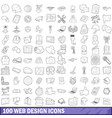 100 web design icons set outline style vector image vector image
